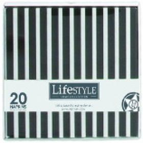 Lifestyle 104504 Салфетки бумажные, черная полоска, 17*17 см. | Rustirka.RU - Интернет-магазин надежной бытовой техники в Москве