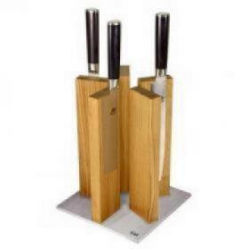 STH-3 Блок для ножей KAI, сталь/дуб   Rustirka.RU - Интернет-магазин надежной бытовой техники в Москве
