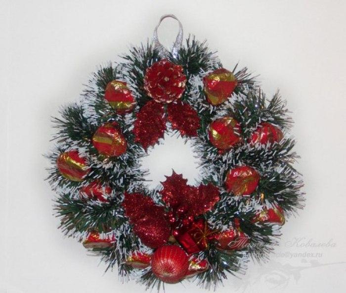 Рождественские венки из мишуры своими руками мастер класс